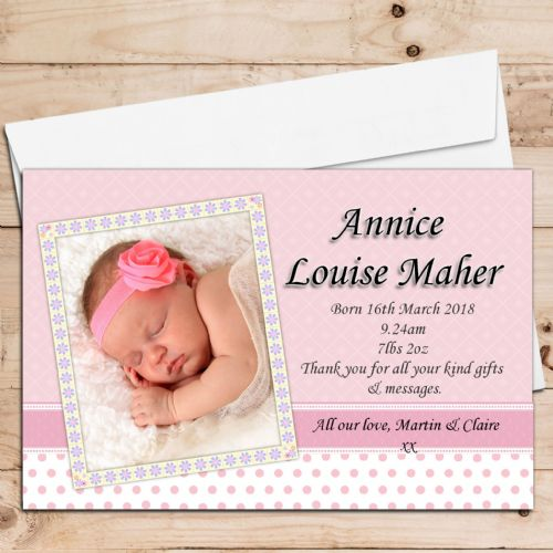 10 Personalised Baby Girl Birth Announcement Thank You Photo Cards N30